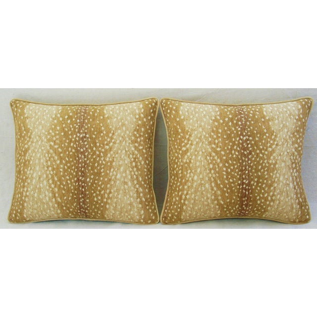 Custom Tailored Antelope Fawn Spot Velvet Feather/Down Pillows- Pair - Image 2 of 10