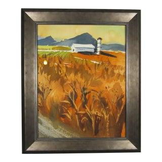 Rural Wheat W/ Barn Watercolor Painting