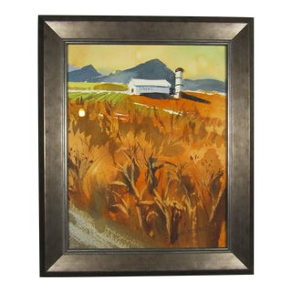 Rural Wheat W/ Barn Watercolor Painting