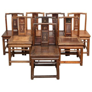 19th-C. Carved Chinese Chairs - Set of 8
