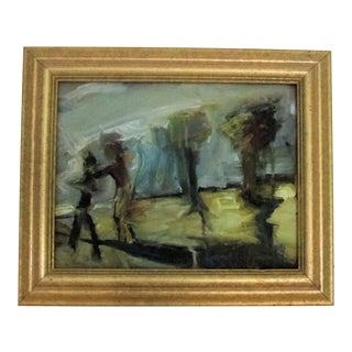 Figures & Trees Impressionistic Oil Painting