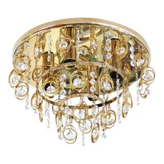 Vintage 3-Tier Brass & Crystal Flush Mount