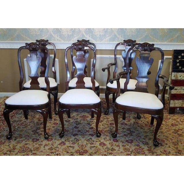 Set 6 Solid Mahogany Classics Stickley Furniture Queen Anne Style Dining Room Chairs Model