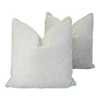 Boho Chic White Crocodile Velvet Pillows - Pair