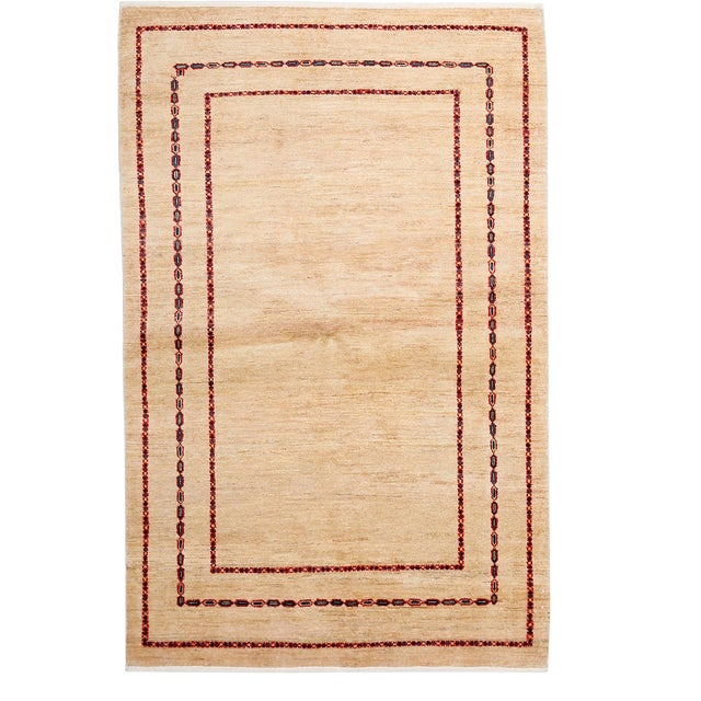"""Contemporary Hand Knotted Area Rug - 4'1"""" X 6'4"""" - Image 1 of 3"""