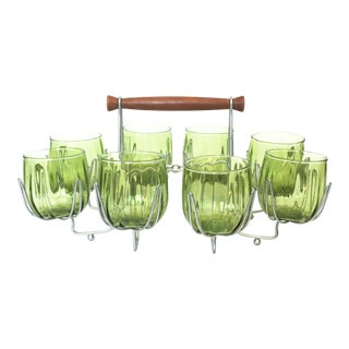 Mid-Century Green Glasses & Caddy - Set of 8