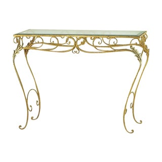 Hand Wrought Iron Console With Gold Leaf