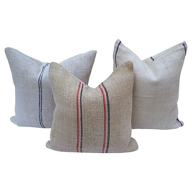Striped Linen Feed Bag Pillows - Set of 3 - Image 5 of 5