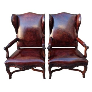 French Regency Style Leather Armchairs - A Pair