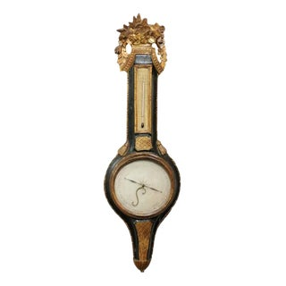 French Louis XVI Style Gilded and Painted Wood Barometer from the Early 1800s