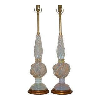 Marbro White Opaline Lamps by Seguso