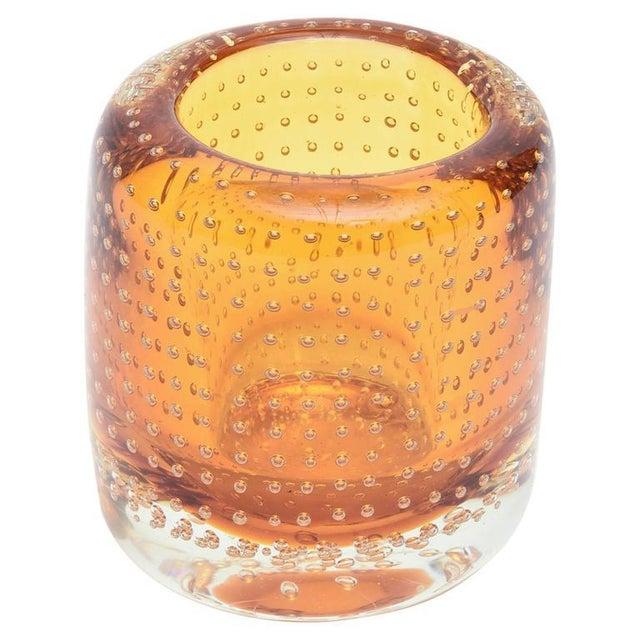 Heavy Bullecante Italian Murano Seguso Glass Vase or Candleholder - Image 1 of 8