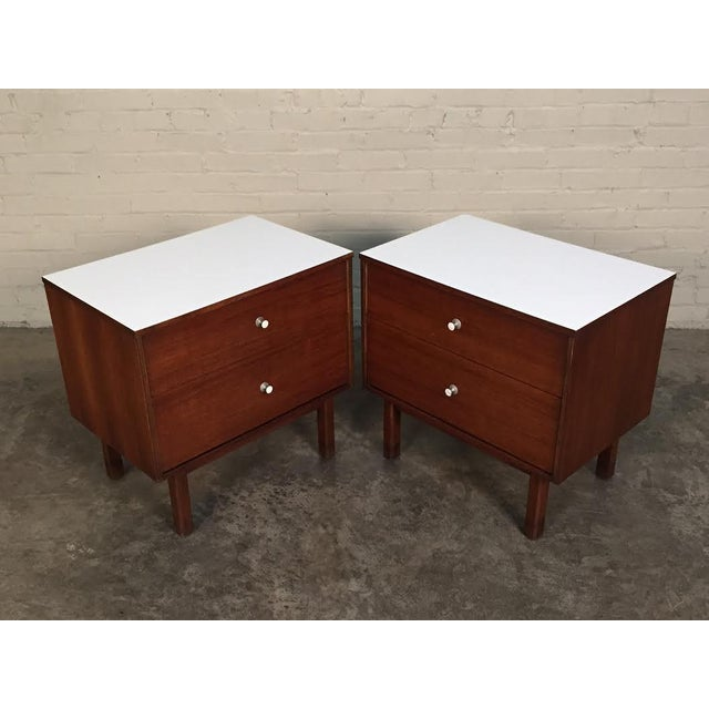 Image of Mid-Century Danish Modern White Top Nightstands - a Pair