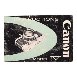 Vintage Canon Model V Camera Instruction Manual
