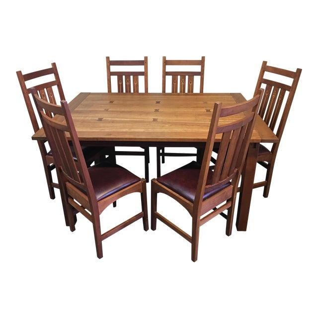 Stickley Mission Dining Table Set Of 6 Ellis Chairs