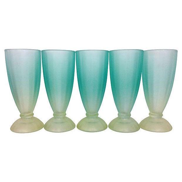 1950s Aqua & Green Sundae Glasses - Set of 5 - Image 2 of 4