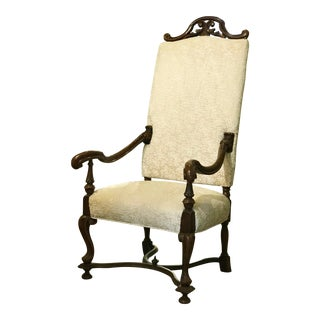 Antique Renaissance Style Victorian Era High-Back Armchair