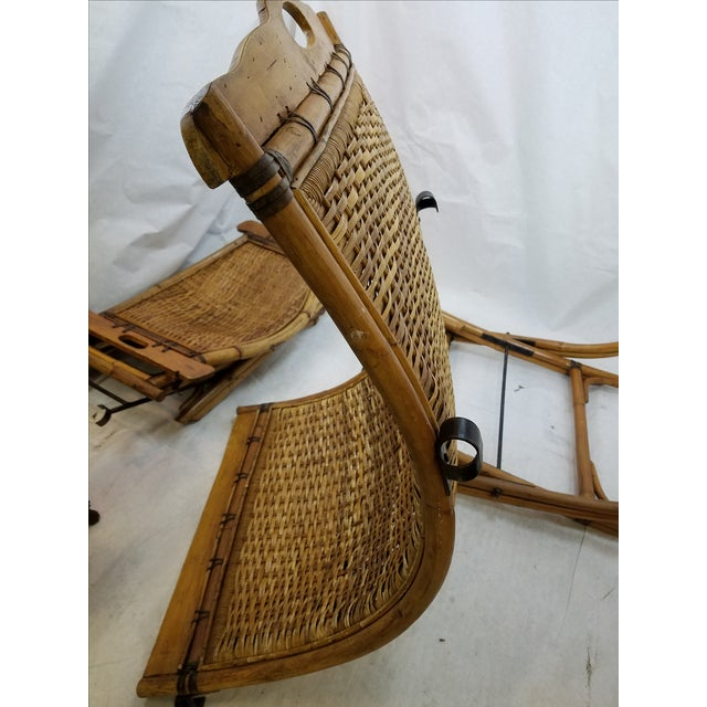 Vintage Rattan Sling Chair With Ottoman - Image 8 of 8