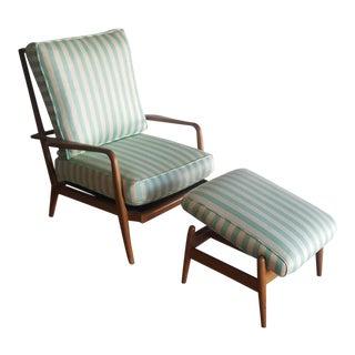 Mid-Century Walnut Chair & Ottoman - A Pair