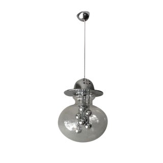 Clear Glass and Chrome Globe Chandelier, Italy, 1970s