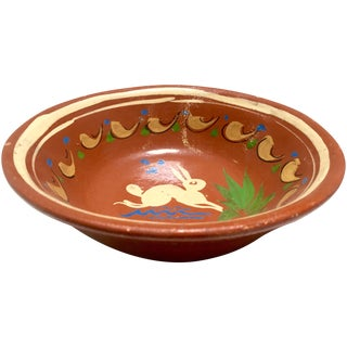 Redware Bowl With Rabbit