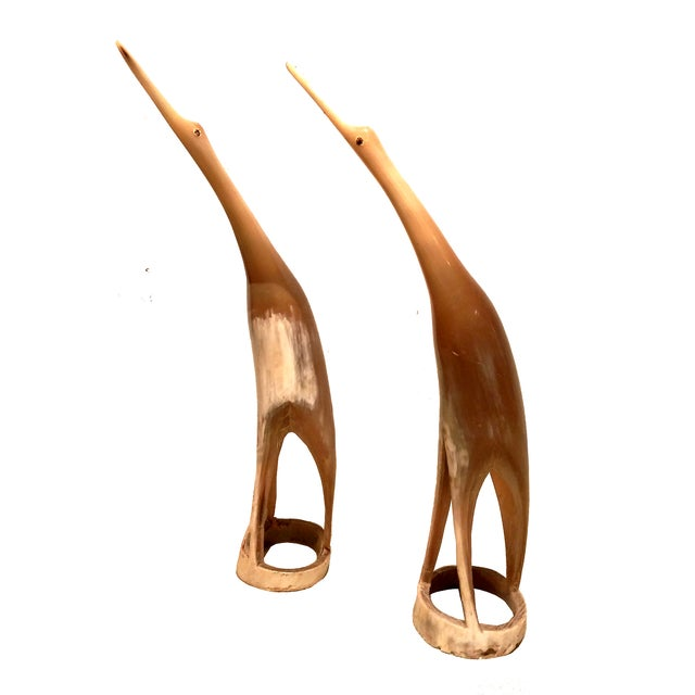 Image of Vintage Horn & Bone Bird Sculptures - Set of 4