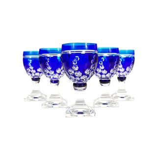 Bohemian Blue Cut Glass Goblets Glasses - Set of 4