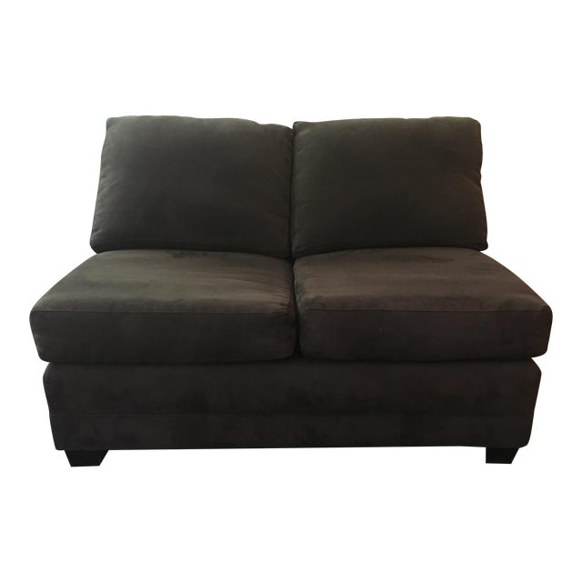 Crate & Barrel Brown Loveseat - Image 1 of 6