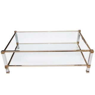 1970s Signed Glass, Lucite and Brass Coffee Table