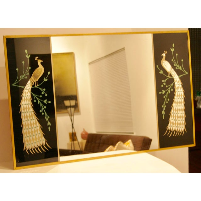 Peacock Embellished Mirror with Slim Gold Frame - Image 3 of 10
