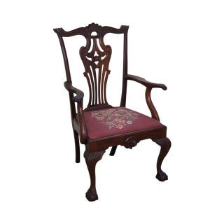 Antique 19th Century Centennial Carved Mahogany Chippendale Style Arm Chair