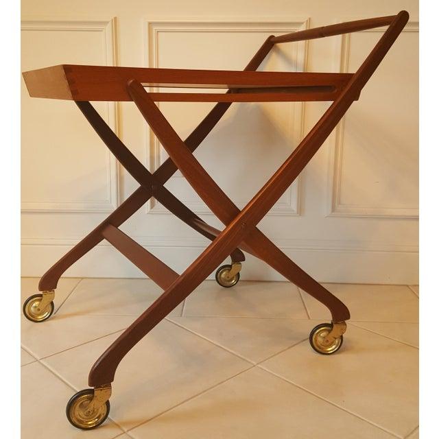 mid century danish teak folding bar cart chairish. Black Bedroom Furniture Sets. Home Design Ideas