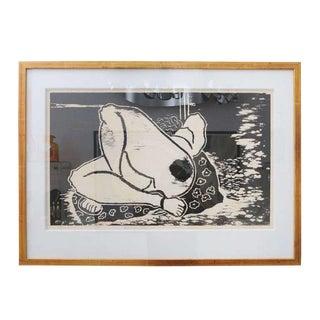"P. Lipton ""Reclining Nude"" Woodcut"