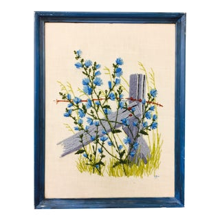 Bluebells & Barbwire Vintage Framed Crewelwork Embroidery