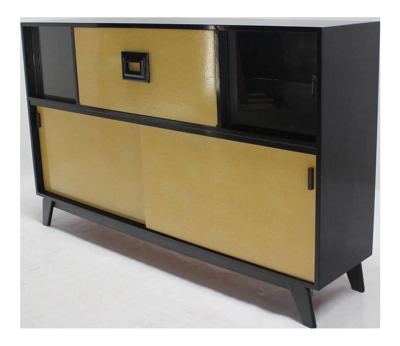 Mid Century Modern Credenza Black Lacquer Gredenza Bar Liquor Cabinet    Image 1 Of 8