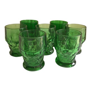 Vintage Emerald Green Water Goblets - Set of 7