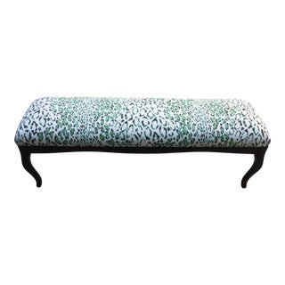 Chic Rose Cumming Green & Beige Linen Leopard Print Bench