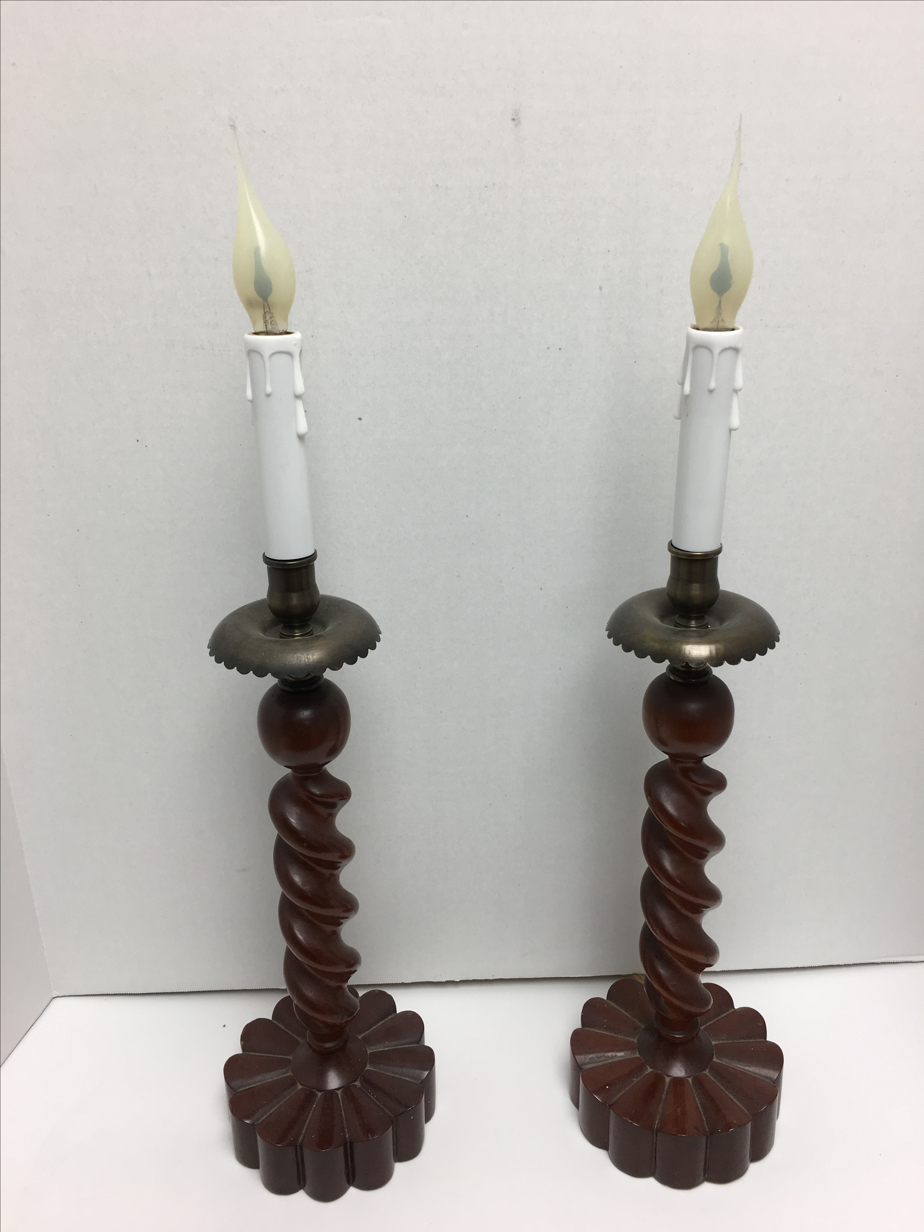 Carved Wood Brass Barley Twist Table Lamps - Pair : Chairish