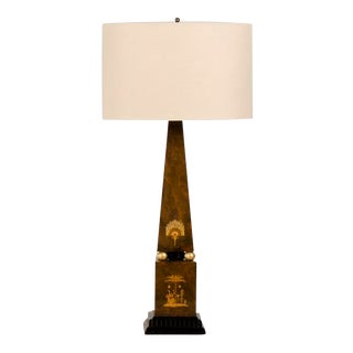 A single obelisk table lamp with Egyptian symbol inlay from Edwardian England c. 1910.