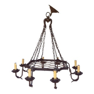 Rustic French Eight Light Iron Chandelier
