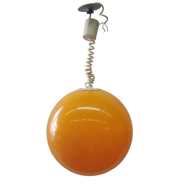 Adjustable Orange Ball Pendant Light - Image 1 of 3