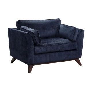 Mid-Century Modern Midnight Blue Velvet Accent Chair