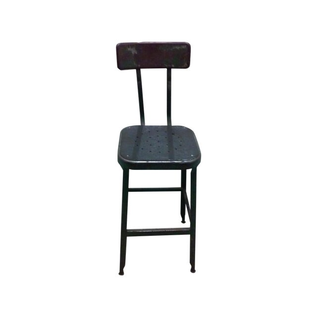 Antique Industrial Black Metal Stool - Image 1 of 5