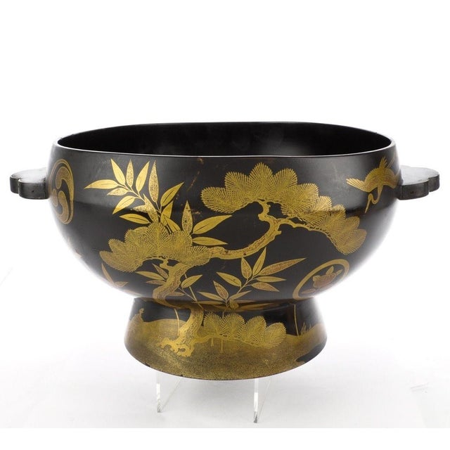 Antique Japanese Maki-E Lacquer Center Bowl - Image 2 of 6
