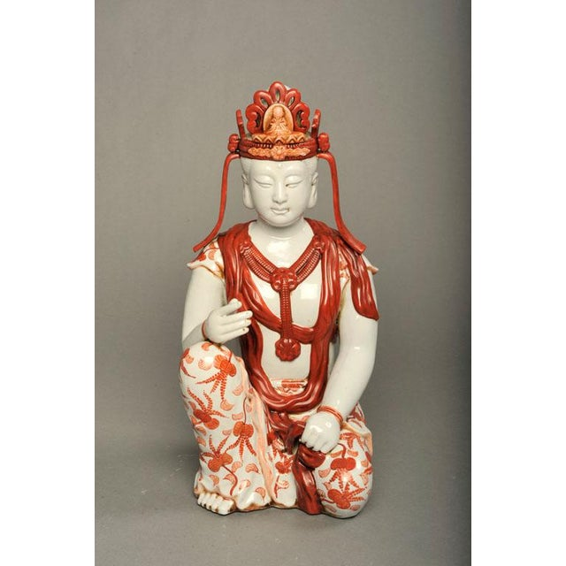 Japanese Hand-Painted Porcelain Bodhisattva Sculpture - Image 2 of 8