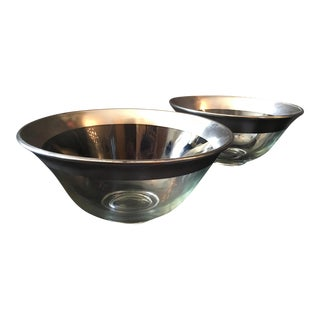 Dorothy Thorpe Silver Rim Serving Bowls - A Pair