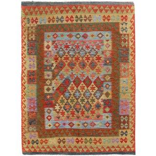 Kilim Arya Harlan Red & Gold Wool Rug - 4'8 X 6'2