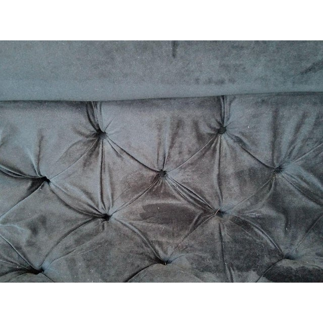 Mid-Century Modern Black Velvet Sofa - Image 7 of 7