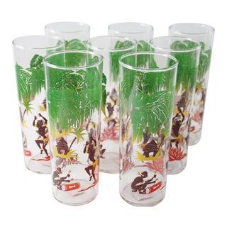 Vintage Tiki Hiball Glasses - Set of 8