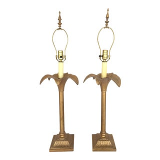 Hollywood Regency Gold Gilt Palm Tree Table Lamps - A Pair